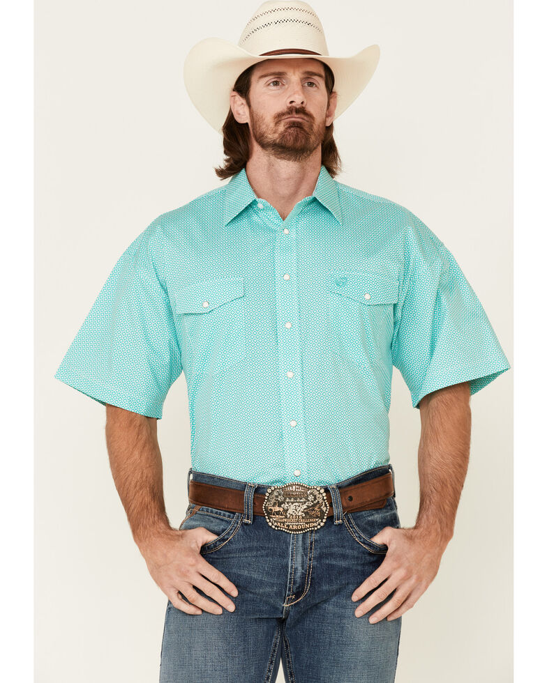 Panhandle Select Men's Emerald Geo Print Short Sleeve Snap Western Shirt , Green, hi-res