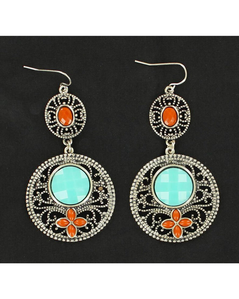 Blazin Roxx Turquoise and Red Stone Drop Earrings, Multi, hi-res