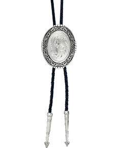 Montana Silversmiths Men's Silver Scrolled Bolo Tie, Silver, hi-res