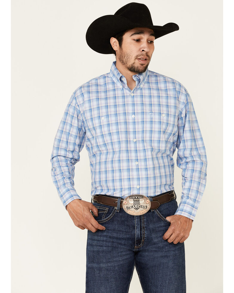 George Strait By Wrangler Men's Blue Large Plaid Long Sleeve Button-Down Western Shirt - Tall, Blue, hi-res