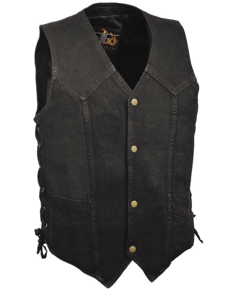 Milwaukee Leather Men's Performance Side Lace Basic Denim Vest, Black, hi-res