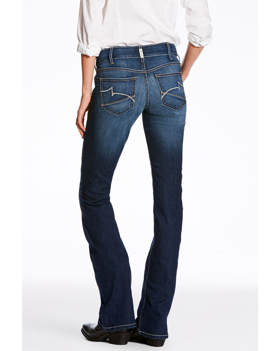 Ariat Women's Heartbeat REAL Mid Rise Boot Jeans , Medium Blue, hi-res
