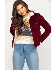 Levi's Women's Original Sherpa Vintage Trucker Jacket, Wine, hi-res