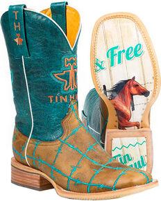Tin Haul Women's Barb'd Wire Western Boots, Tan, hi-res