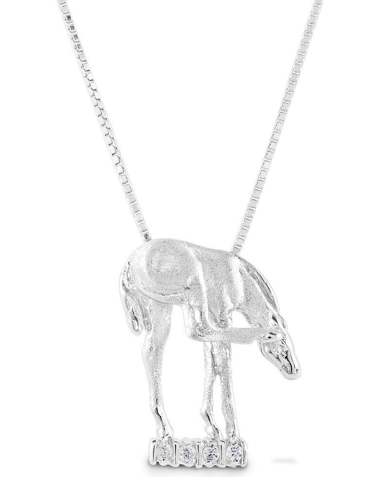 Kelly Herd Women's Scratching Foal Pendant Necklace , Silver, hi-res