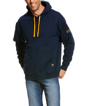 Ariat Men's Rebar Navy Logo Hoodie - Big & Tall, Navy, hi-res