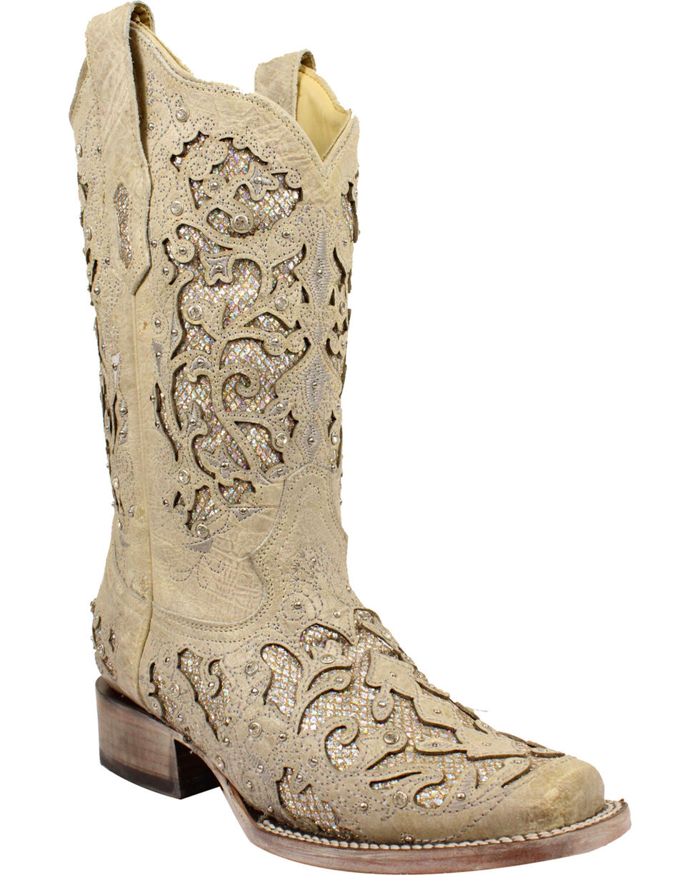 Corral Women's White Glitter & Crystals Cowgirl Boots - Square Toe, White, hi-res