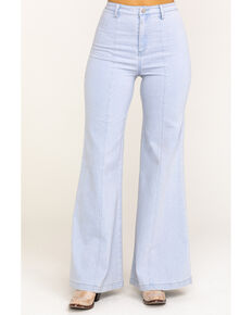 Flying Tomato Women's Light Wash Flare Wide Leg, Blue, hi-res