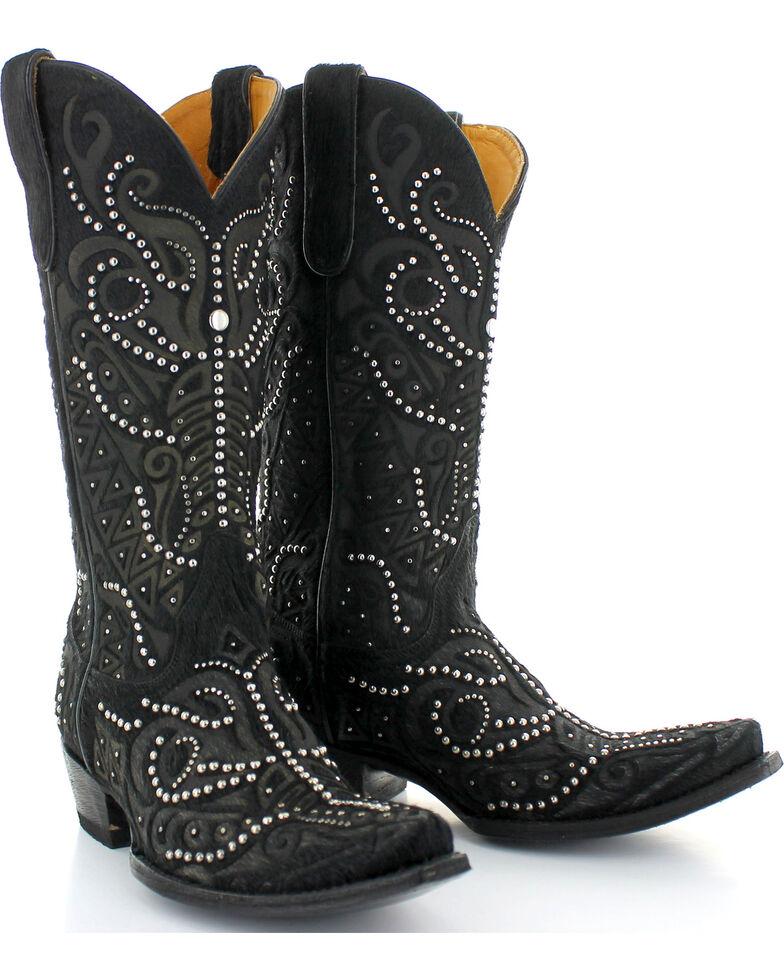 Old Gringo Women's Rowan Black Hair-On-Hide Studded Boots - Snip Toe , Black, hi-res