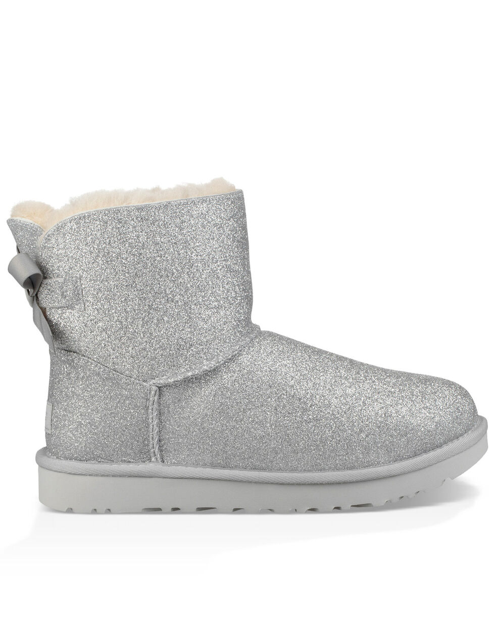 UGG Women's Silver Mini Bailey Bow Sparkle Boots - Round Toe, Silver, hi-res