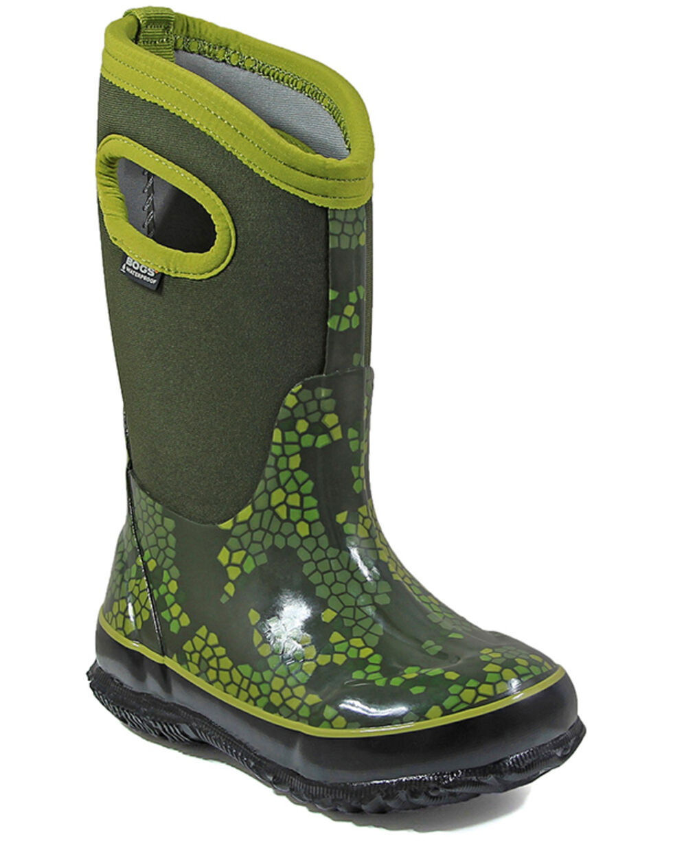 Bogs Boys' Classic Axel Waterproof Boots - Round Toe, Moss Green, hi-res
