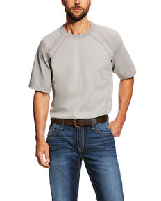 Ariat Men's Silver Fox FR Short Sleeve Crew Work Shirt - Tall , Grey, hi-res