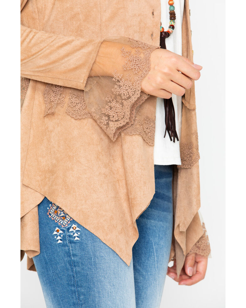 Cripple Creek Women's Micro-suede Long Sleeve Button Front Jacket , Sand, hi-res