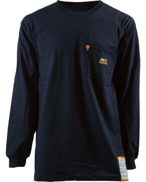 Berne Khaki Long Sleeve Flame Resistant Crew Neck T-Shirt - 2XT, Navy, hi-res