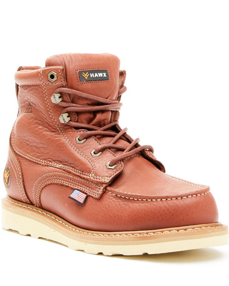 Hawx Men's Dark Brown USA Moc Wedge Work Boots - Soft Toe, Dark Brown, hi-res
