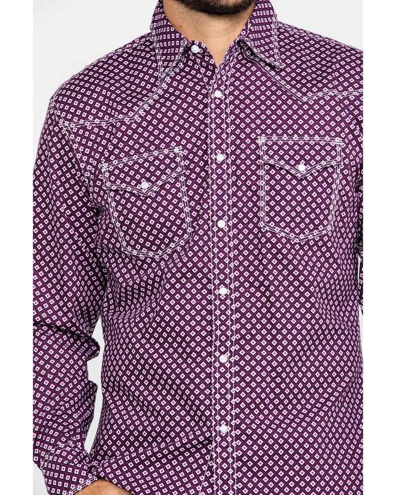 Wrangler 20X Men's Advanced Comfort Diamond Geo Long Sleeve Western Shirt - Tall , Black/purple, hi-res