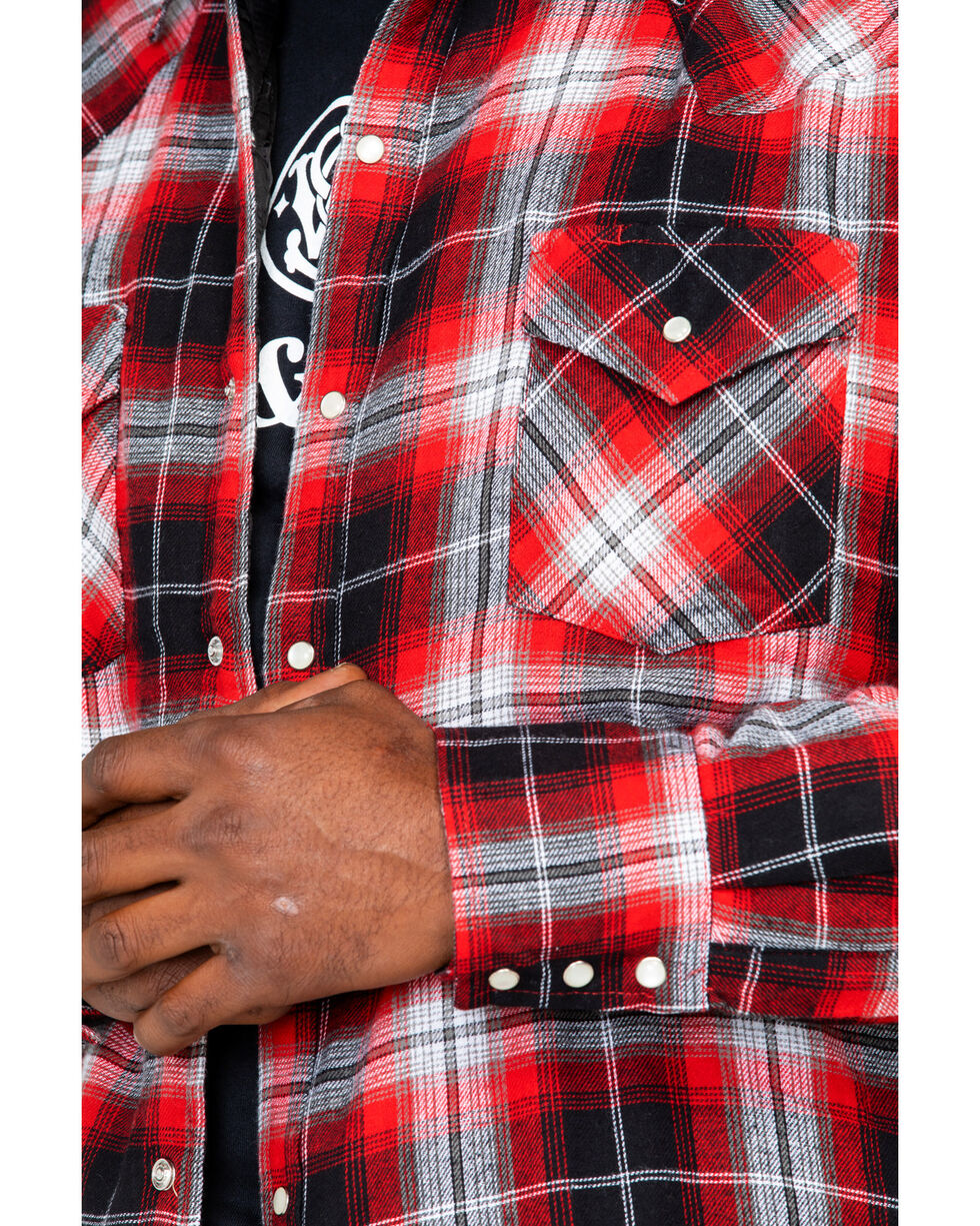 Ely Cattleman Men's Quilted Flannel Long Sleeve Western Flannel Shirt , Red, hi-res