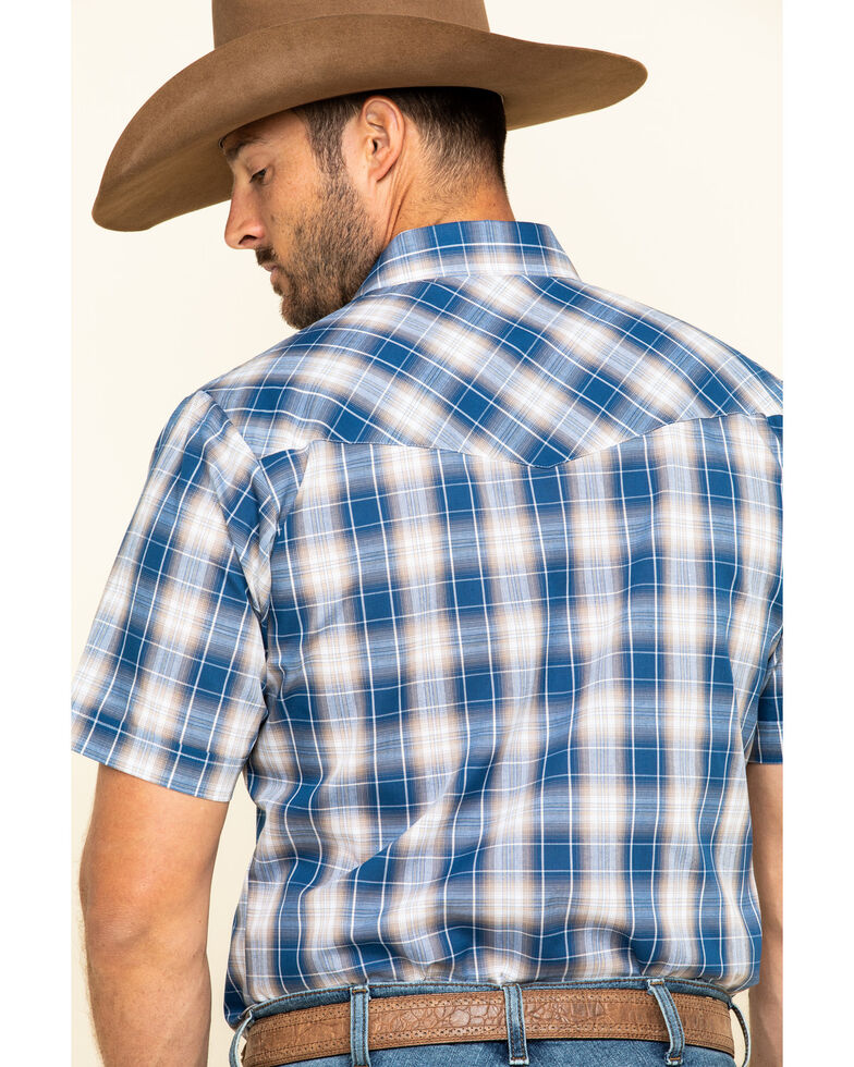Ely Cattleman Men's Blue Textured Plaid Short Sleeve Western Shirt - Tall , Blue, hi-res