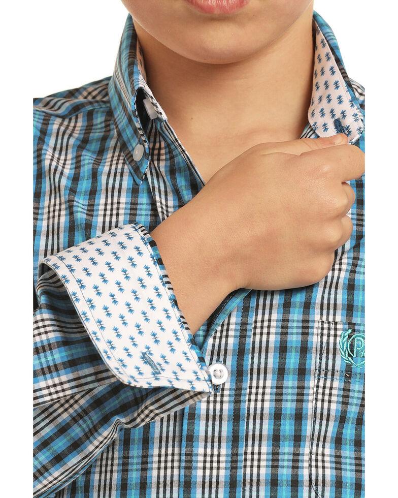 Panhandle Select Boys' Blue Poplin Check Plaid Long Sleeve Western Shirt , Blue, hi-res