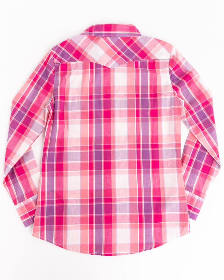 Shyanne Girls' Pink & Purple Plaid Horse Embroidered Long Sleeve Western Shirt, Pink, hi-res