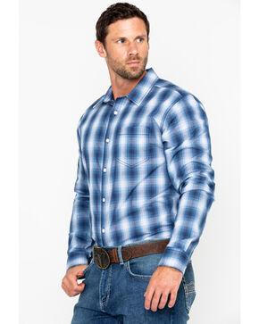 Gibson Men's Money Maker Plaid Long Sleeve Western Shirt, Blue, hi-res