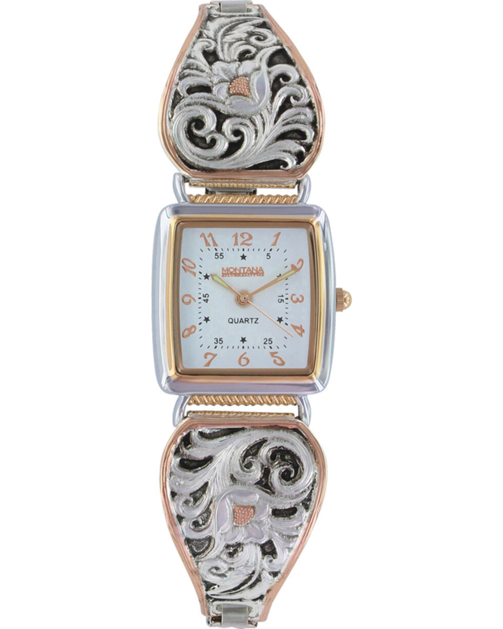 Montana Silversmiths Women's Leathercut Rose Gold Watch, Multi, hi-res