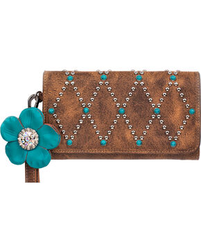 Blazin Roxx Women's Willow Clutch Wallet, Brown, hi-res
