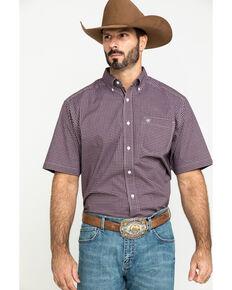 Ariat Men's Ladera Stretch Plaid Short Sleeve Western Shirt - Big , Brown, hi-res