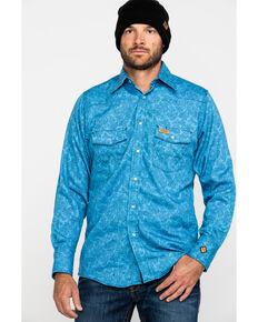 Wrangler Men's Blue FR Paisley Lightweight Long Sleeve Work Shirt - Big, Blue, hi-res