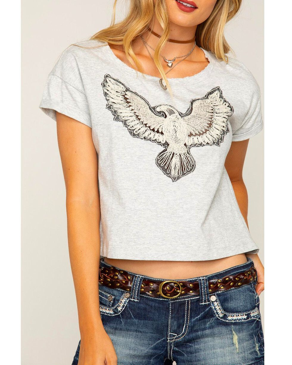 Shyanne Women's Eagle Short Sleeve T-Shirt, Grey, hi-res