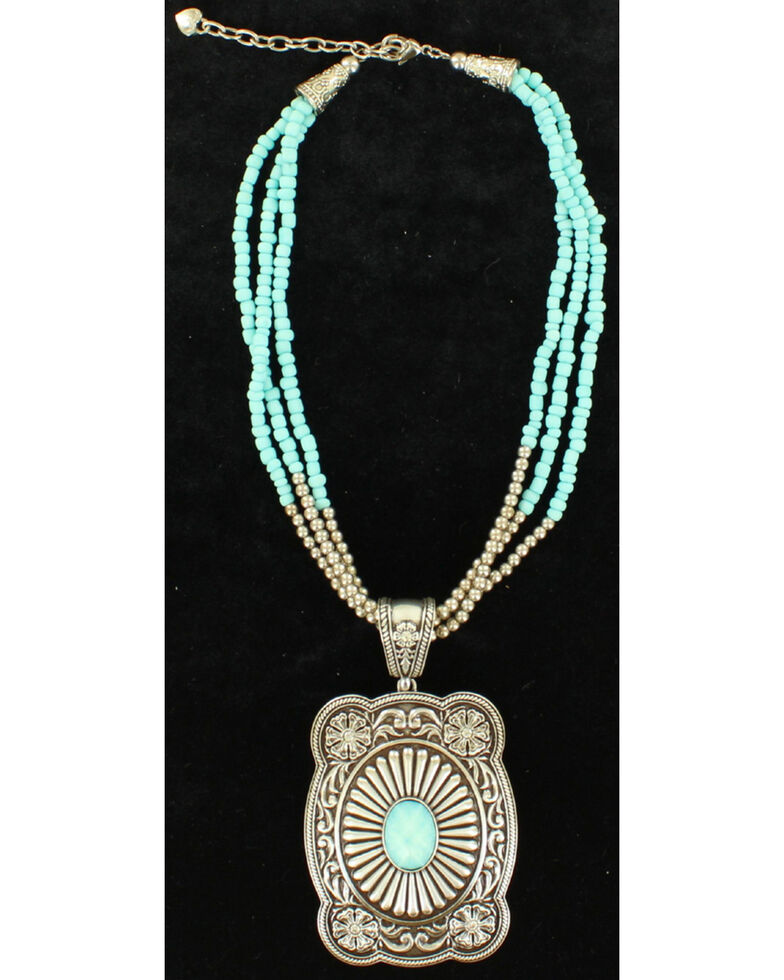 Blazin Roxx 3-Strand Turquoise Beads Pendant Necklace, Silver, hi-res