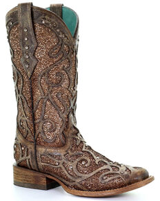 Corral Women's Gold Glitter Inlay Western Boots - Square Toe, Taupe, hi-res
