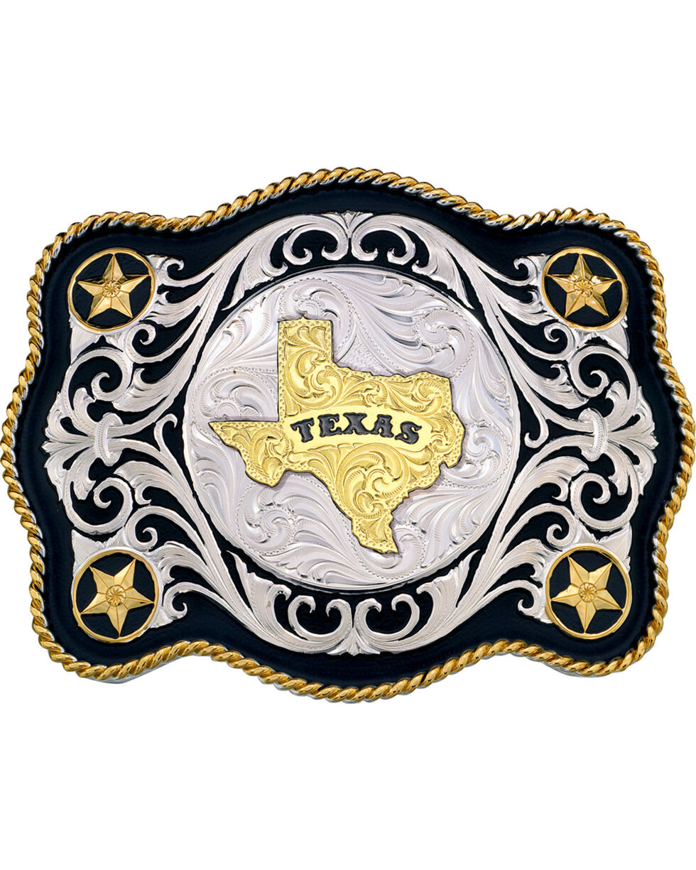 Montana Silversmiths Scalloped Sheridan Texas State Buckle, Multi, hi-res
