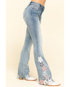 Driftwood Women's Light Wash Floral Hem Isabel Flare Jeans, Blue, hi-res
