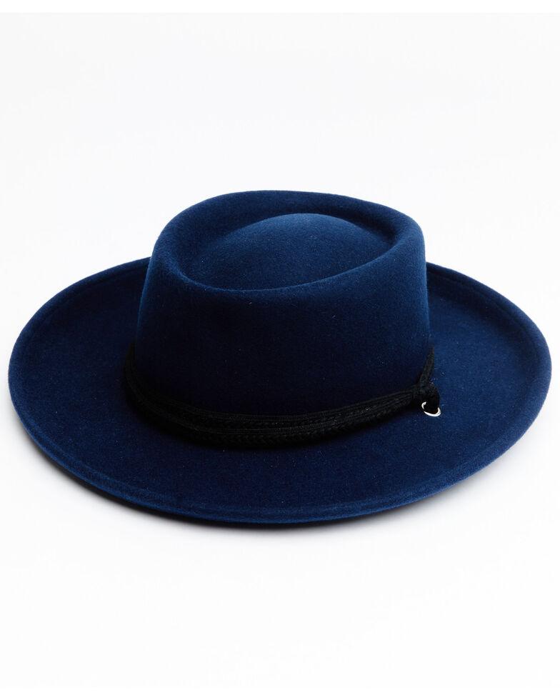 Shyanne Women's Blue Zinnia Western Wool Gambler Hat , Blue, hi-res