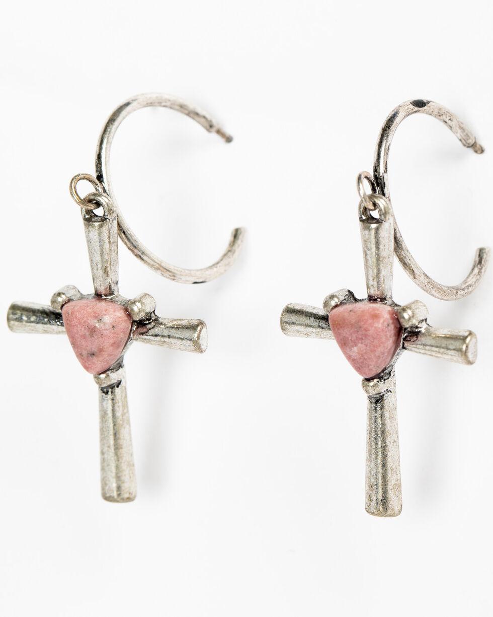 Shyanne Women's Mojave Pink Heart Center Cross Earrings, Silver, hi-res