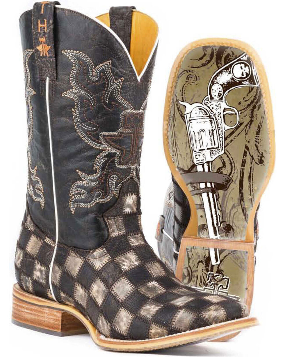 Tin Haul Men's Gun Metal Check Western Boots, Brown, hi-res