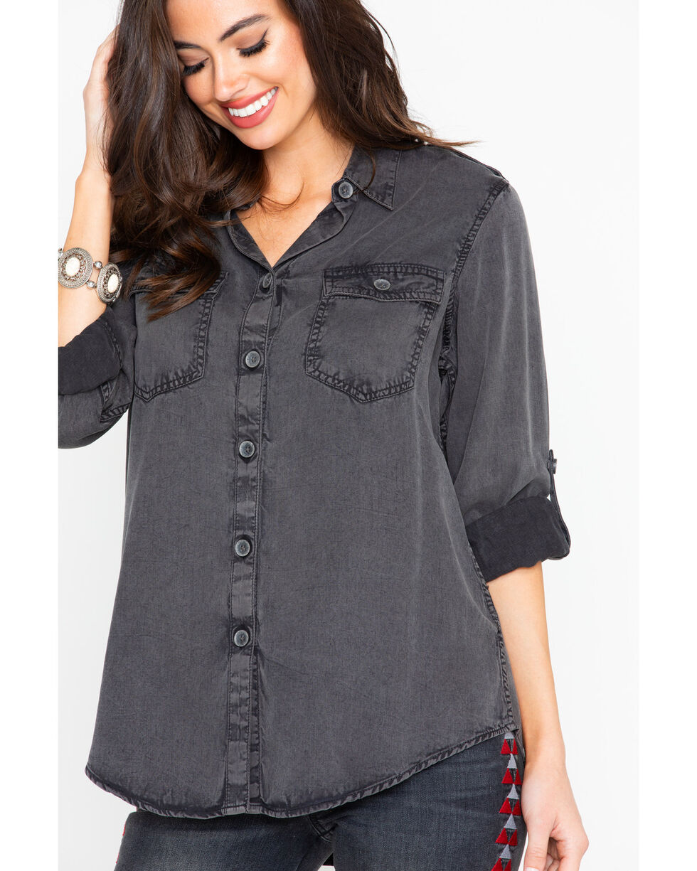 Ariat Women's Solid Fade Rolled Button Relaxed Long Sleeve Shirt , Black, hi-res