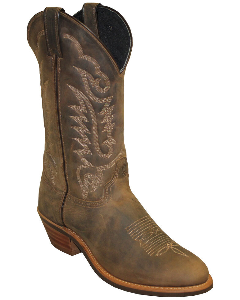 Abilene Women's Brown Distressed Western Boots - Round Toe, Brown, hi-res