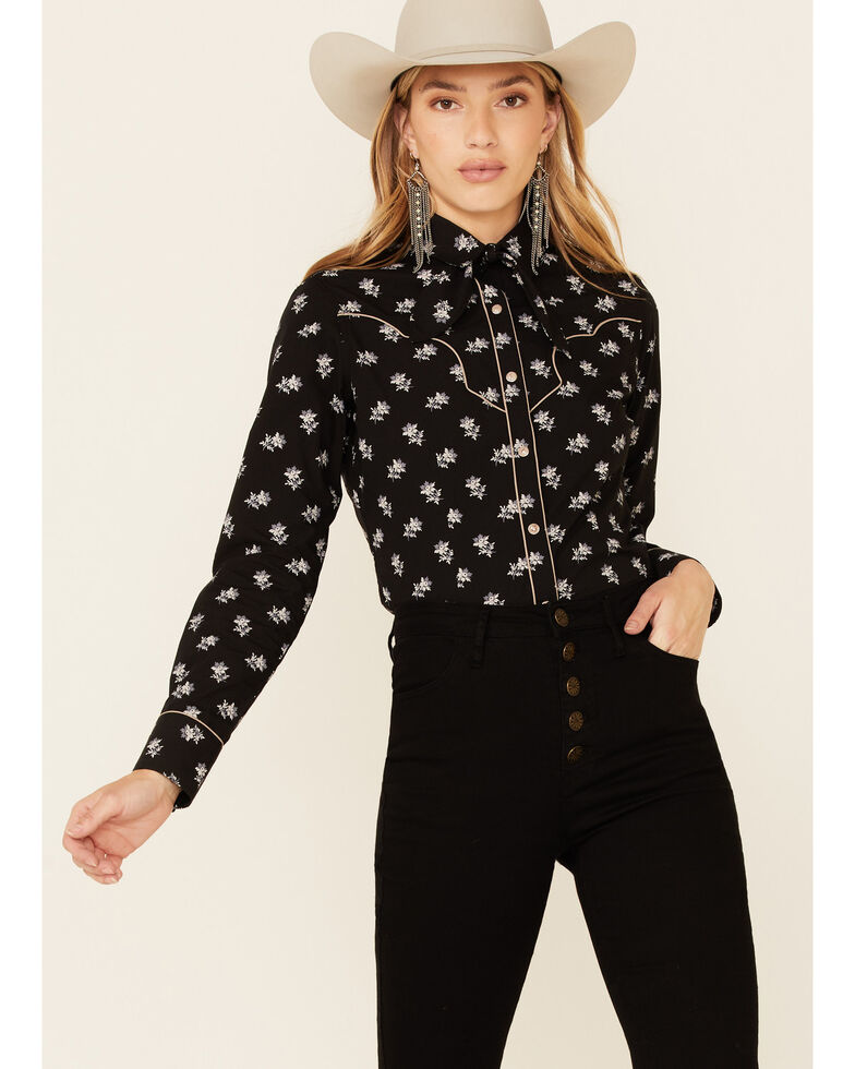 Rock & Roll Denim Women's All-Over Floral Print Long Sleeve Snap Western Core Shirt , Black, hi-res