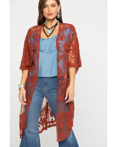 Polagram Women's Lace Long Kimono, Rust Copper, hi-res