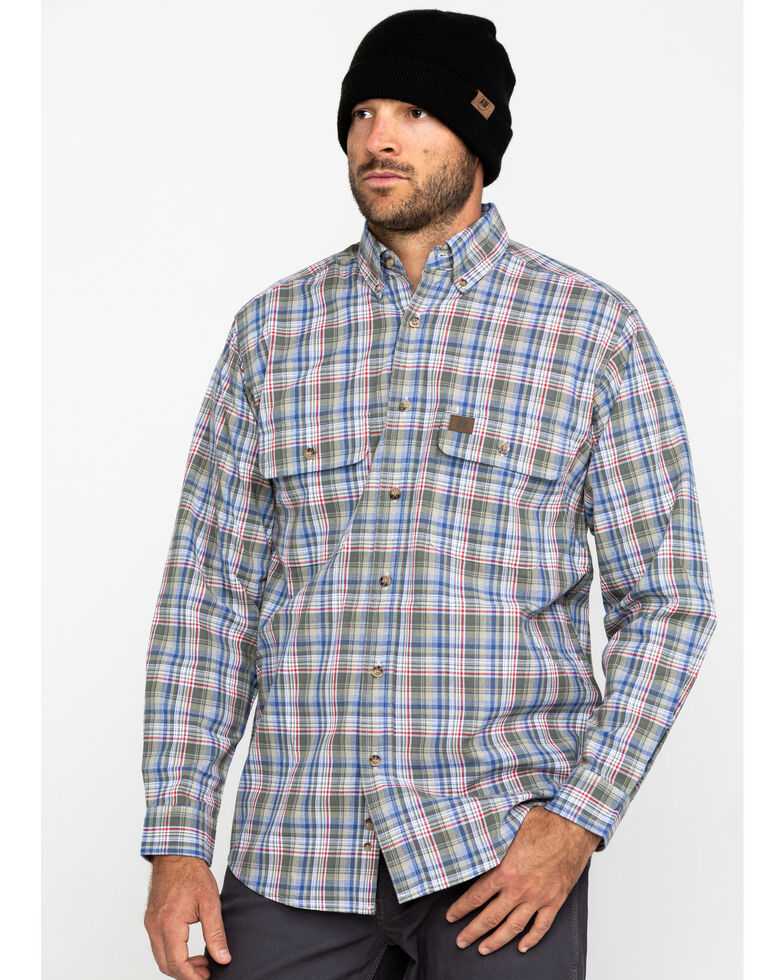 Wrangler Riggs Men's Khaki Plaid Long Sleeve Work Shirt , Beige/khaki, hi-res
