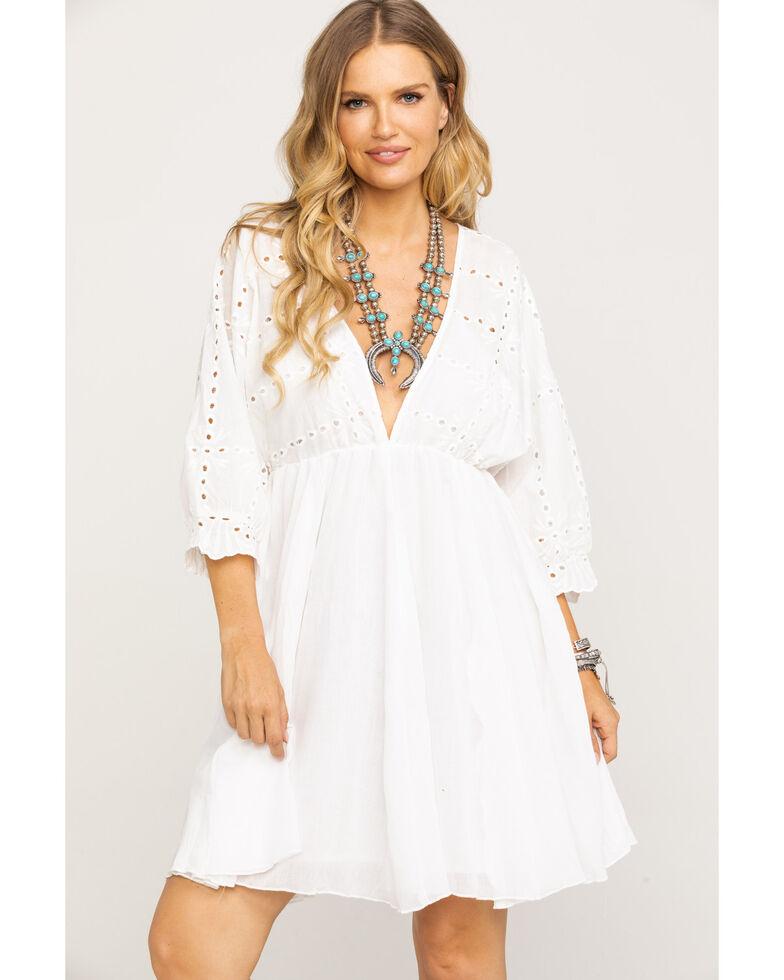 Mystree Women's Eyelet Top Dress, White, hi-res