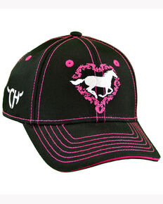 f7daf66412a Cowgirl Hardware Infant   Toddler Girls Black Heart Horse Cap