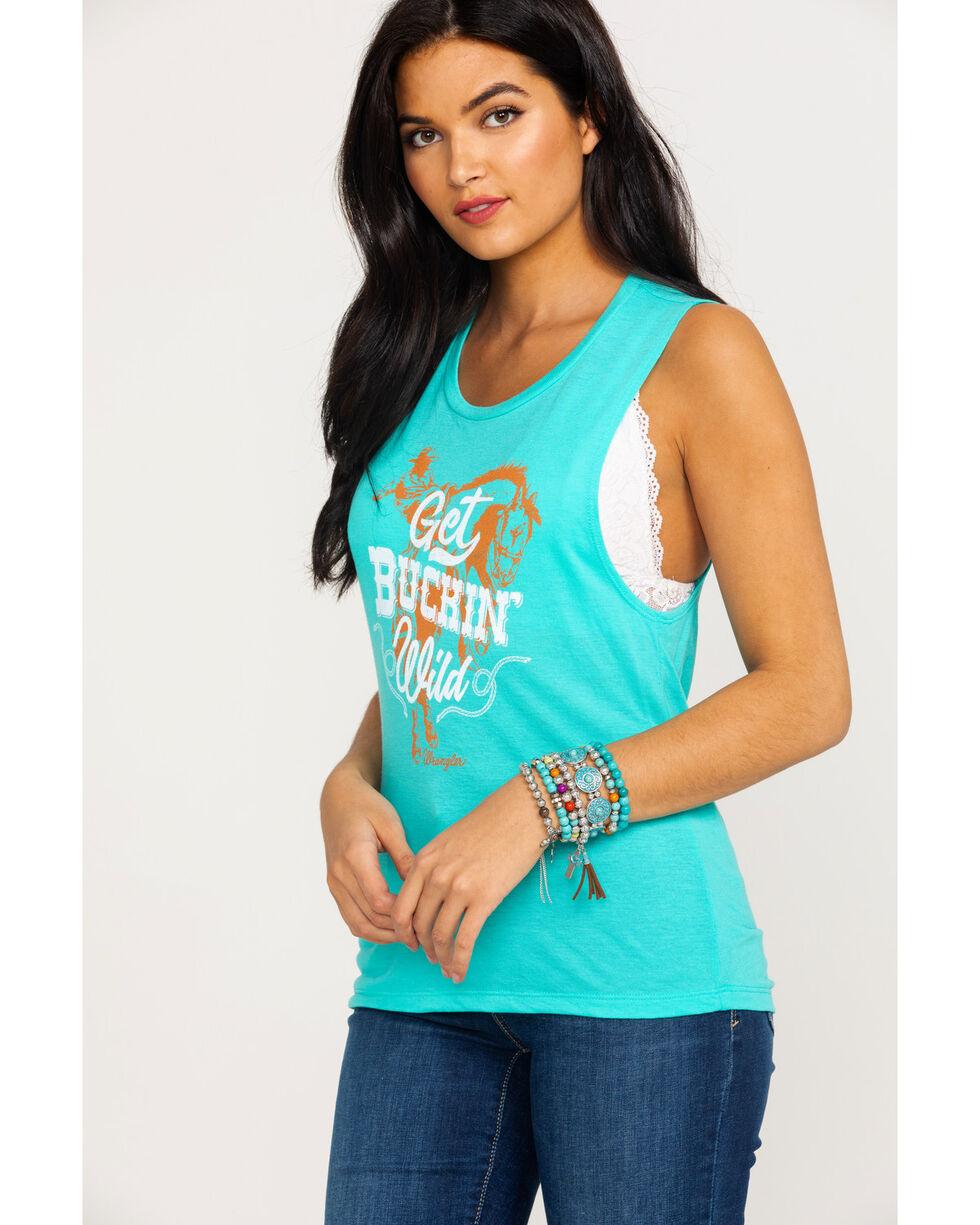 Wrangler Women's Get Buckin Wild Graphic Tank , Turquoise, hi-res