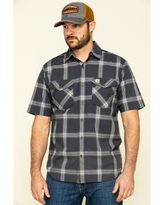 Carhartt Men's Grey Rugged Flex Bozeman Plaid Short Sleeve Work Shirt - Big , Grey, hi-res