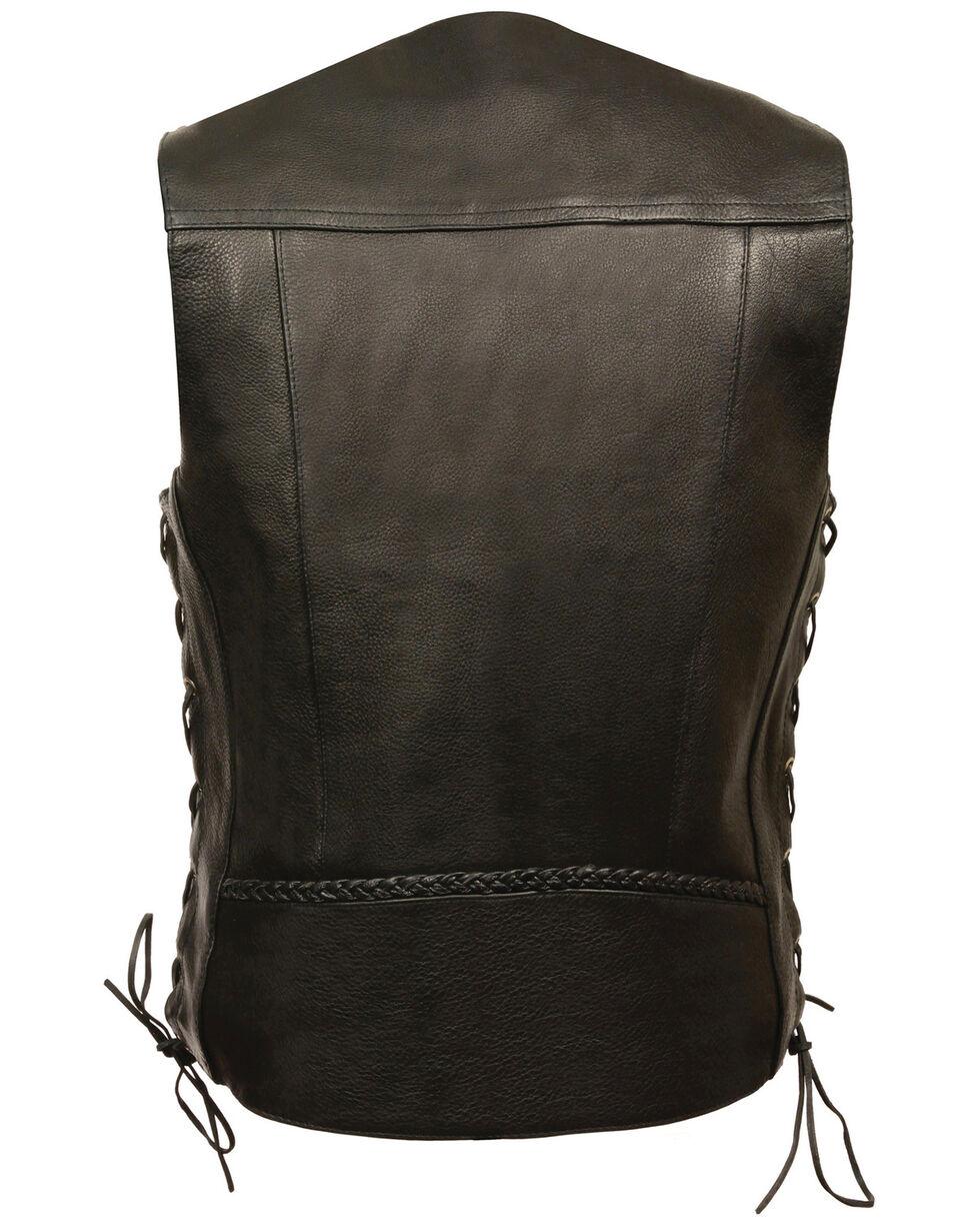 Milwaukee Leather Men's Buffalo Snap Braided Side Lace Vest - XXBig, Black, hi-res