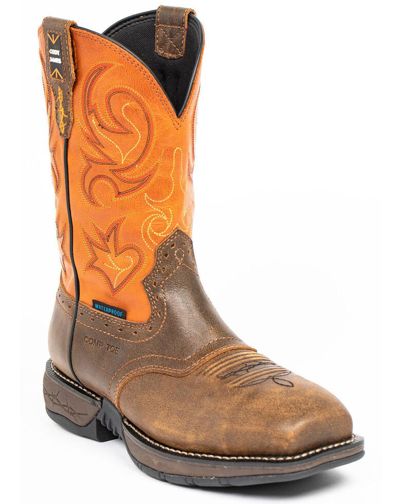 Cody James Men's Nano Lite Waterproof Western Work Boots - Nano Composite Toe, Orange, hi-res