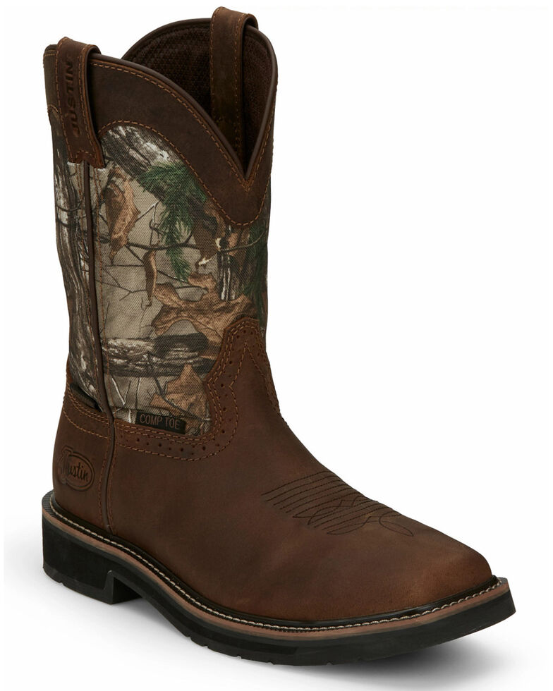 Justin Men's Trekker Waterproof Western Work Boots - Composite Toe, Camouflage, hi-res