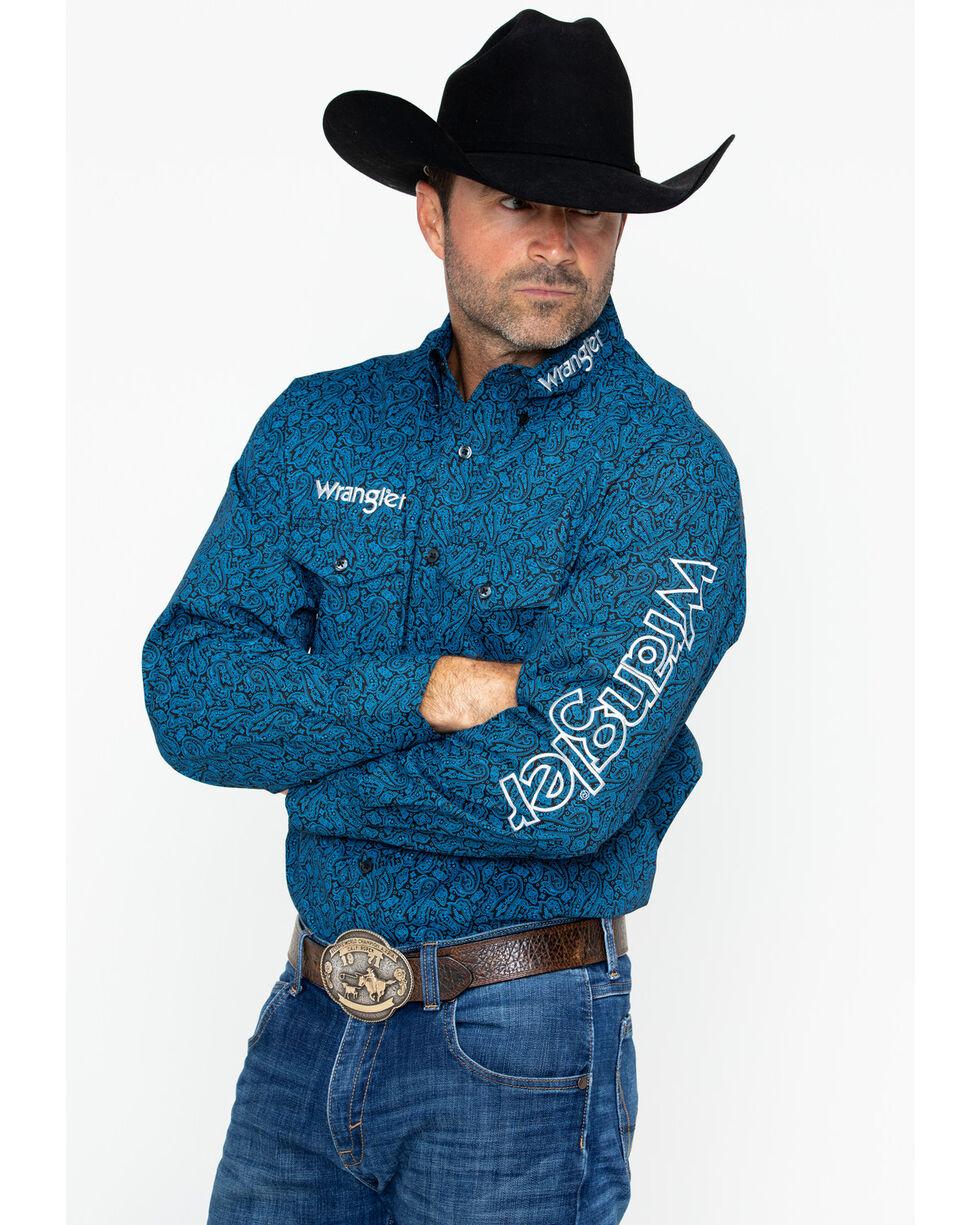 Wrangler Men's Long Sleeve Paisley Logo Shirt , Blue, hi-res